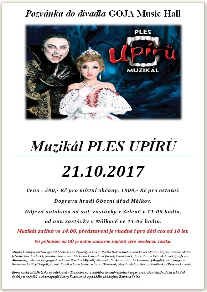 Zájezd na muzikál PLES UPÍRŮ 21.10.2017 1